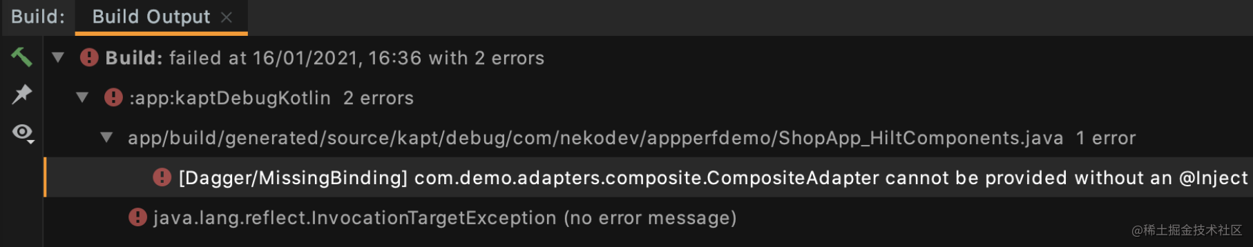 Dagger build output where there is @ Inject annotation missing